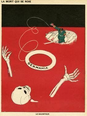 WW1 Cartoon, Drowning by Paul Iribe