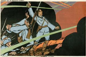 WW1 Cartoon, Giving Blood by Paul Iribe