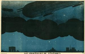 Zeppelins over Paris by Paul Iribe