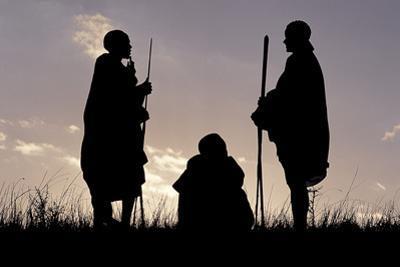 Silhouette of Maasai Warriors, Ngorongoro Crater, Tanzania by Paul Joynson Hicks
