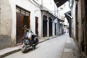 Street Scene in Stone Town with Moped, Unguja Island, Zanzibar Archipelago, Tanzania by Paul Joynson Hicks