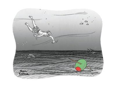 Diver reaches for martini olive. - New Yorker Cartoon