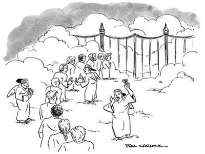 Line of people waiting at gates of Heaven as angel scalpers try to sell th… - New Yorker Cartoon