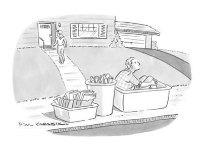 Wife takes out recycling bins one of which contains her husband. - New Yorker Cartoon