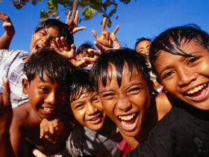 Exuberant Children, Nusa Dua, Bali, Indonesia by Paul Kennedy