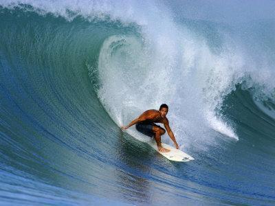 Surfer on Wave, Lagundri Bay, Pulau Nias, North Sumatra, Indonesia