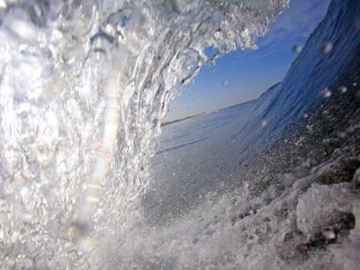 Surfer's Perspective Looking Out Barrel of Wave, at Popular Surfing Beach Playa Aserradores