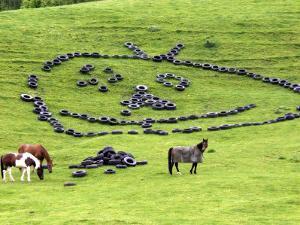 Tires Arranged into Martian Face on Farmland Near Raglan, New Zealand by Paul Kennedy