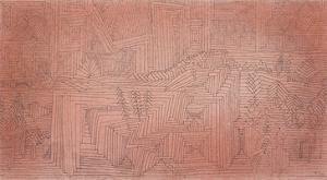 Cliff Temples with Firs; Felsentempel Mit Tannen by Paul Klee