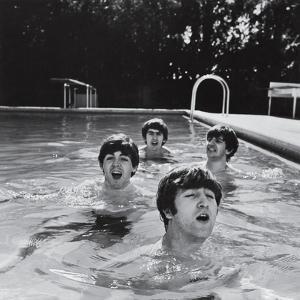 Paul McCartney, George Harrison, John Lennon and Ringo Starr Taking a Dip in a Swimming Pool