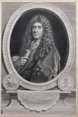 Portrait of Jean Baptiste Lully (1632-87), French Composer and Operatic Director, Engraved by… by Paul Mignard