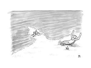 Moses is laying on a beach chair parting the sea around a sand castle. - New Yorker Cartoon by Paul Noth