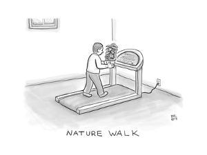 Nature Walk -- A man walks on a treadmill, while holding a potted plant in... - New Yorker Cartoon by Paul Noth