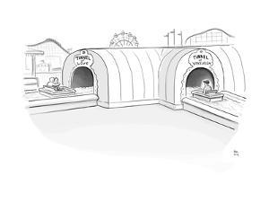 Tunnel of Love ride intersects with a Tunnel of Voyeurism ride. - New Yorker Cartoon by Paul Noth
