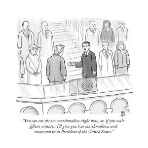 """You can eat the one marshmallow right now, or, if you wait fifteen minute... - New Yorker Cartoon by Paul Noth"