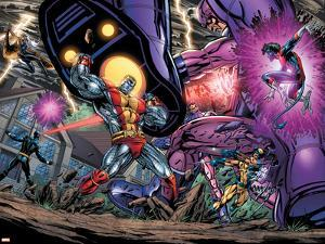 Exiles No.69 Group: Colossus, Nightcrawler, Wolverine, Storm, Cyclops, Sentinel and X-Men by Paul Pelletier