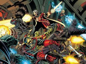 Guardians Of The Galaxy No.1 Group: Rocket Raccoon, Star-Lord and Quasar by Paul Pelletier