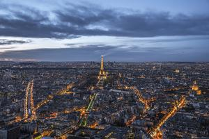 Paris at sunset from the Montparnasse Tower, the best viewpoint in Paris, Paris, France, Europe by Paul Porter