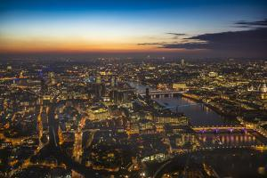 Sunset view over London, from The Shard, London, England, United Kingdom, Europe by Paul Porter