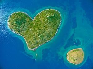 Aerial View of the Heart Shaped Galesnjak Island on the Adriatic Coast of Croatia. by paul prescott