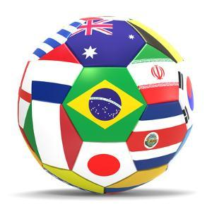 Football and Flags Representing All Countries Participating in Football World Cup in Brazil in 2014 by paul prescott