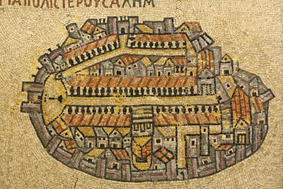 Map Of Jerusalem In Mosaic, Cardo, Jerusalem, Israel