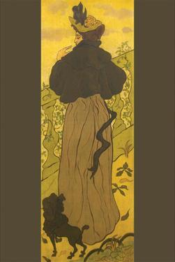 Woman Standing Beside Railing with Poodle by Paul Ranson