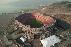Aerial View of Earthquake Damaged Stadium by Paul Richards