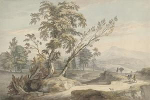 Italianate Landscape with Travellers No.2, C.1760 (W/C, Pen and Grey Ink over Graphite) by Paul Sandby