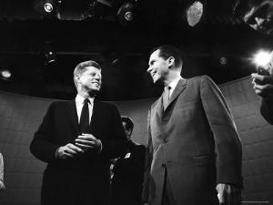 Dem. and Repub. Presidential Cands. John F. Kennedy and Richard M. Nixon Prior to 1st TV Debate by Paul Schutzer