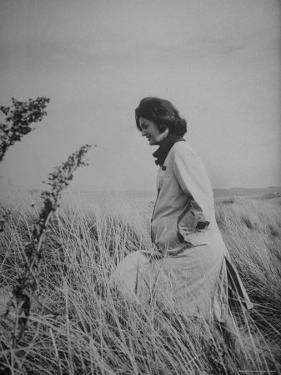 Jacqueline Kennedy, Wife of Dem. Pres. Candidate, Taking Walk Along Beach on Election Day by Paul Schutzer