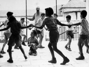 Jewish Children at Religious School Dancing Israel Folk Dances at Recess by Paul Schutzer