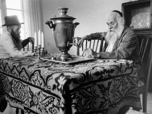 Jews Making Tea with Russian Type Samovar by Paul Schutzer