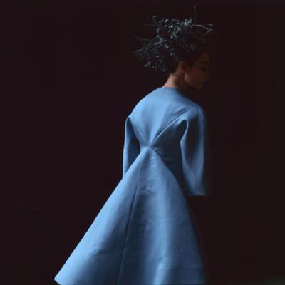 Model Dressed in a Blue Coat by Roberto Capucci, Paris, France, 1962