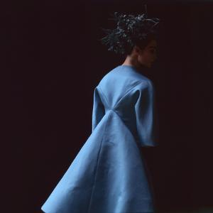 Model Dressed in a Blue Coat by Roberto Capucci, Paris, France, 1962 by Paul Schutzer