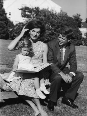 Presidential Candidate Senator Jack Kennedy with His Wife Jacqueline and Daughter Caroline by Paul Schutzer