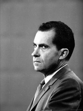 Republican Candidate Richard Nixon During Televised Debate with Democratic Candidate John F Kennedy by Paul Schutzer