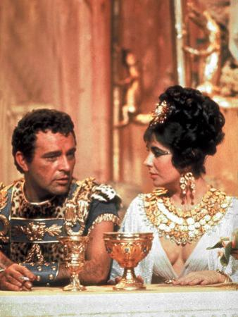 Richard Burton and Elizabeth Taylor, in Costume, Chatting on Set During Filming of Cleopatra