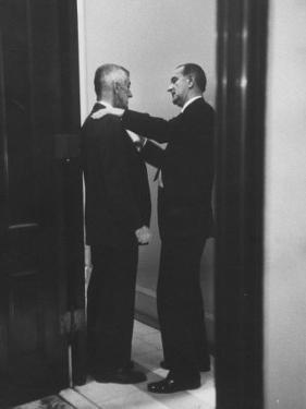 Sen. Lyndon B. Johnson Talking to Sen. Leverett Saltonstall by Paul Schutzer