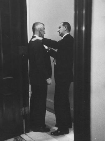 Sen. Lyndon B. Johnson Talking to Sen. Leverett Saltonstall by Paul Schutzer