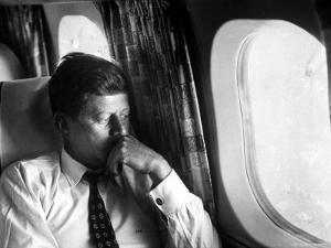 Senator John F. Kennedy on His Private Plane During His Presidential Campaign by Paul Schutzer