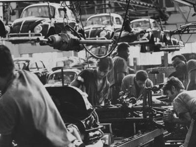 View of an Assembly Lin at the Volkswagen Plant in Sao Paulo