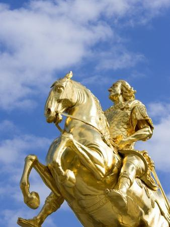 Golden Rider Equestrian Statue in Dresden by Paul Seheult