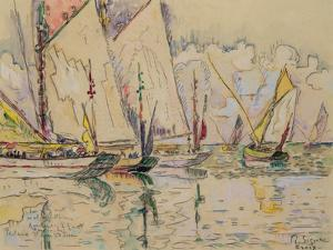 Departure of Tuna Boats at Groix (W/C on Paper) by Paul Signac
