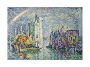 Rainbow at the Port of La Rochelle; Arc-En-Ciel, La Rochelle, Le Port, 1912 by Paul Signac