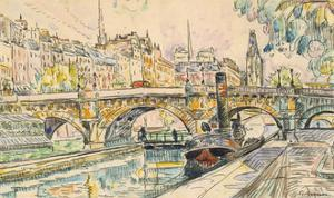 Tugboat at the Pont Neuf, Paris, 1923 by Paul Signac