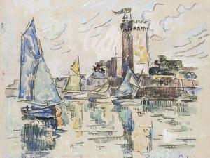 View of the Harbour at Les Sables-D'Olonne (Black Chalk with Watercolour on Tissue Paper by Paul Signac
