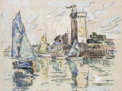 View of the Harbour at Les Sables-D'Olonne (Black Chalk with Watercolour on Tissue Paper