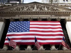 American Flag, New York Stock Exchange Building, Lower Manhattan, New York City, New York, Usa by Paul Souders