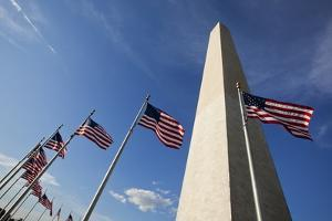 American Flags Encircling Washington Monument by Paul Souders